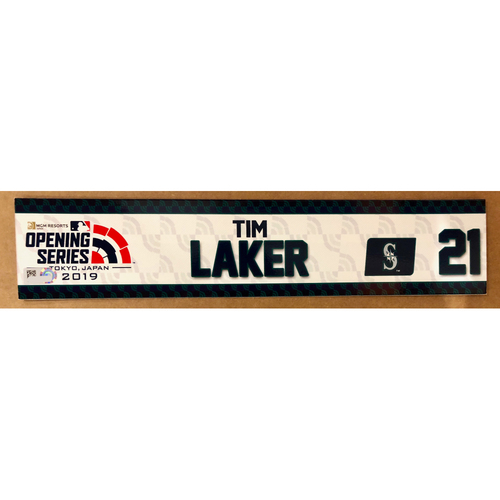 Photo of 2019 Japan Opening Day Series - Game Used Locker Tag - Tim Laker -  Seattle Mariners