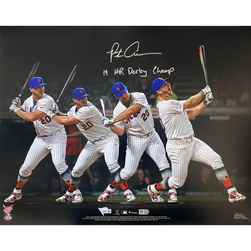 "Photo of Pete Alonso - Autographed 16x20 Photo - Inscribed ""19 HR Derby Champ"""
