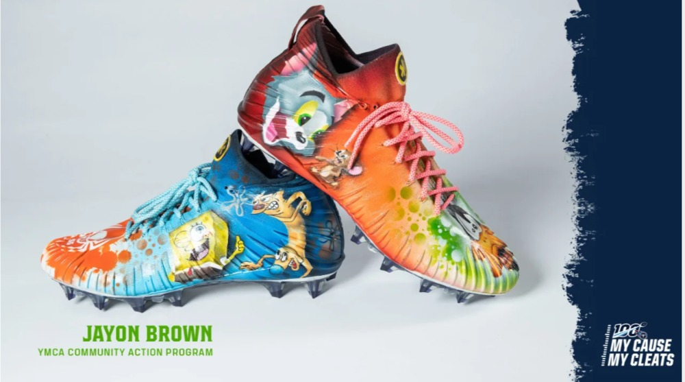 My Cause My Cleats -  Titans Jayon Brown  custom cleats - supporting  YMCA Community Action Program (aka Y-CAP)