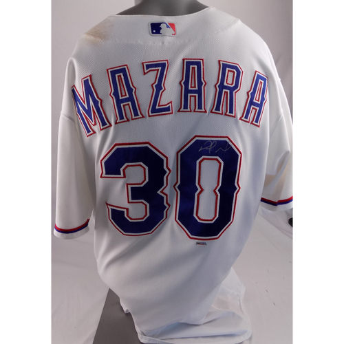 Photo of Game-Used and Autographed White Jersey - Nomar Mazara - 6/19/2017 - Hit HR #9 of 2017 Season