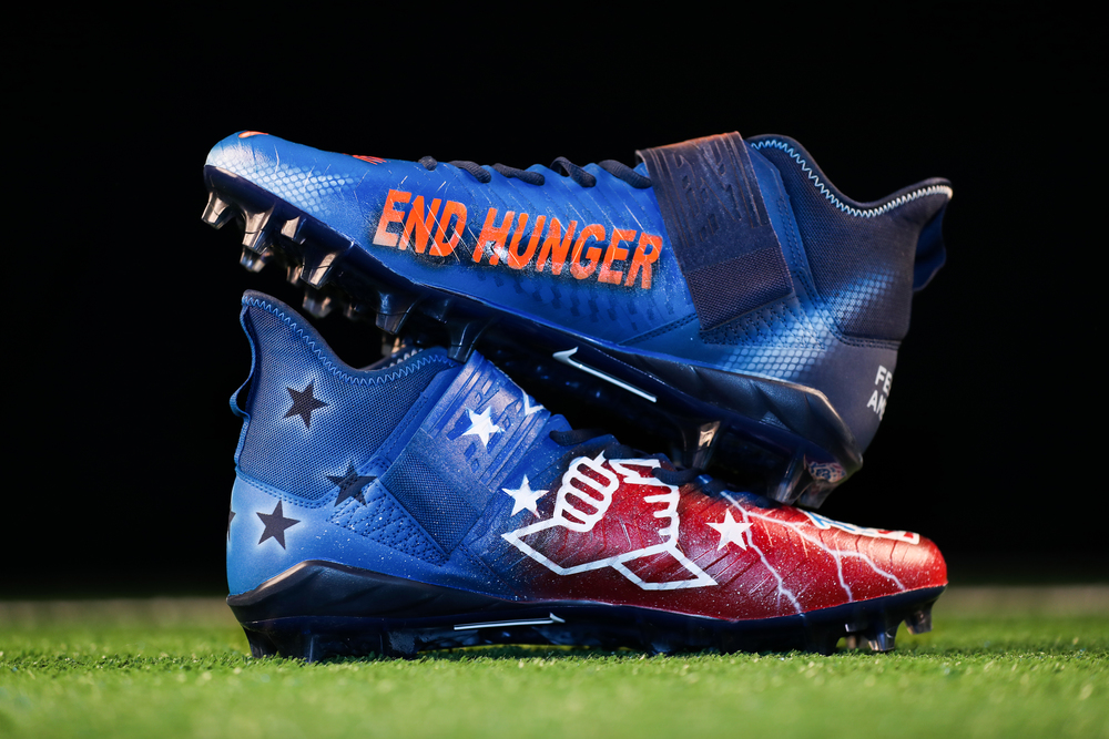 My Cause My Cleats - Patriots Chase Winovich custom cleats supporting - Team Impact and Feeding America - Cleats will be autographed
