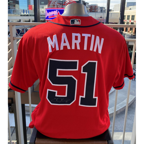 Photo of Chris Martin Autographed and Game-Used Los Bravos Jersey