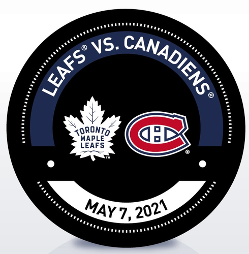 Used Warm-Up Puck TOR vs MTL 5/6/21