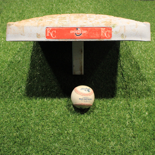 Photo of Game-Used Baseball: Kyle Isbel Debut 2nd Career Hit and Game-Used Base (TEX @ KC 4/1/21)