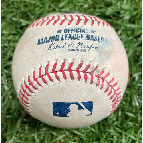 Photo of Game-Used Baseball: D.J. LeMahieu Strike Out and Aaron Judge Single off Jeffrey Springs - Top 5 - April 10, 2021 v NYY