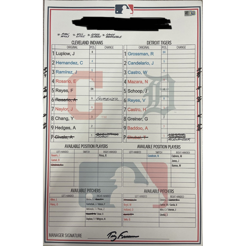 Photo of Game-Used 2021 Line-Up Card - Choose Your Game Date!