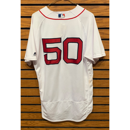 Photo of Mookie Betts September 9, 2017 Game Used Home Jersey