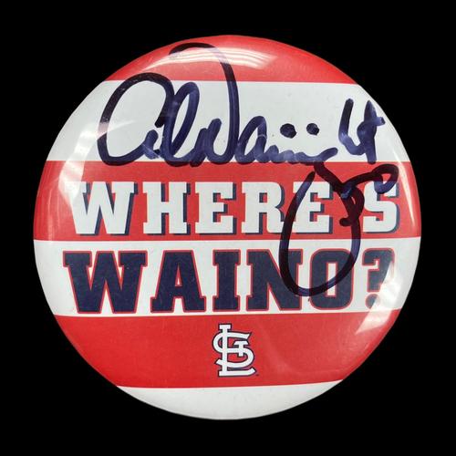 "Photo of Adam Wainwright Autographed ""Where's Waino?"" Button"