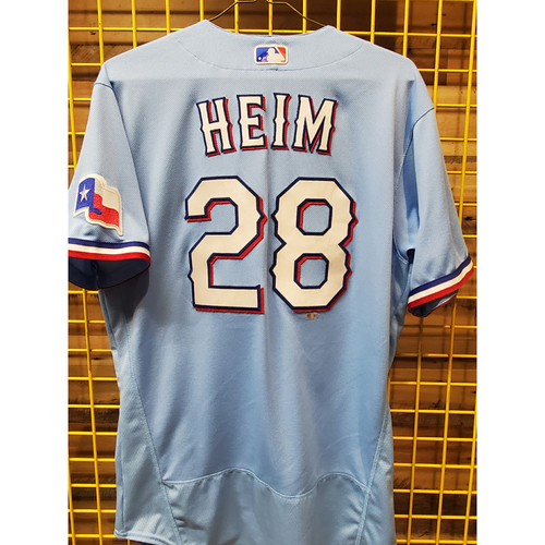 Photo of Jonah Heim Game-Used Baby Blue Jersey - Worn 8/1/2021 - 2 HR Including Walk-Off in the 9th.
