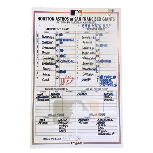 San Francisco Giants - Autographed Replica Lineup Card from Matt Cain's Perfect Game