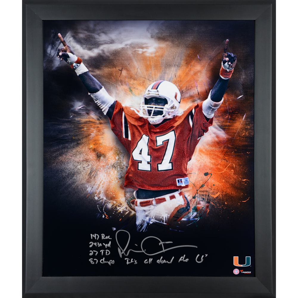 Michael Irvin Miami Hurricanes Framed Autographed 20
