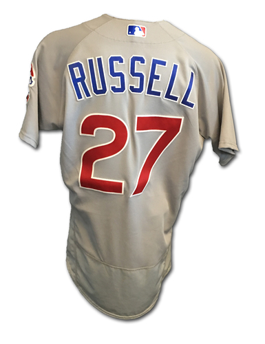 Addison Russell Game-Used Jersey -- Russell 3-Run HR (12) -- Cubs Clinch 2017 NL Central Division -- Cubs at Cardinals -- 9/27/17