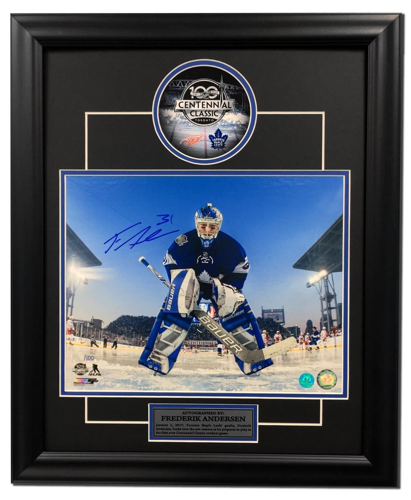Frederik Andersen Toronto Maple Leafs Signed Centennial Classic 23x19 Frame /100
