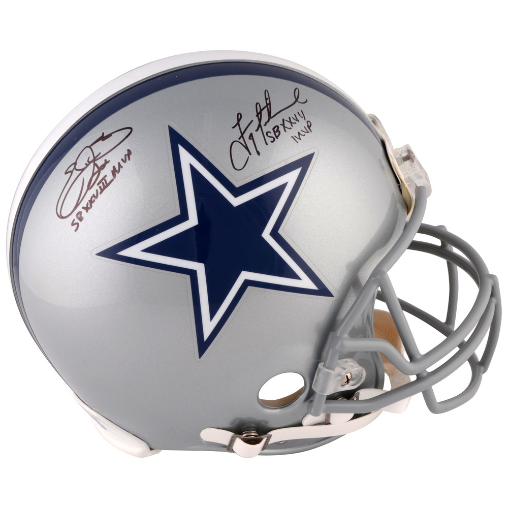 Emmitt Smith, Troy Aikman Dallas Cowboys Dual Signed Riddell Pro Line Helmet with SB MVP Inscriptions