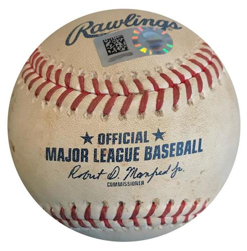 Photo of Game-Used Baseball from Pirates vs. Cubs on 7/31/18 - Vazquez Strikes Out Rizzo