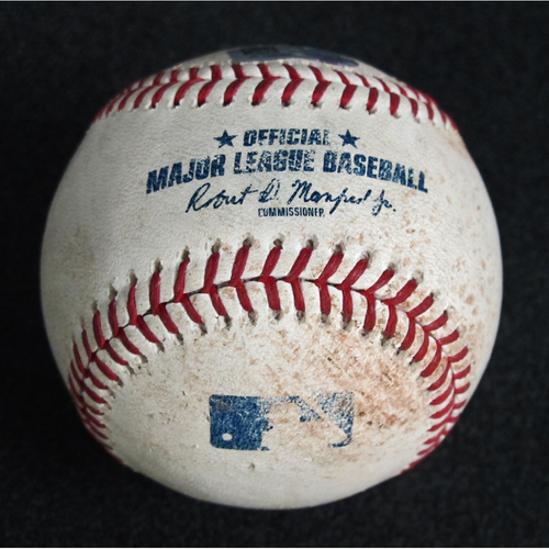 Photo of Game Used Baseball: Pitcher: Ross Detwiler, Batter: Carlos Correa (Single) - 8-21-2018 vs. Houston Astros