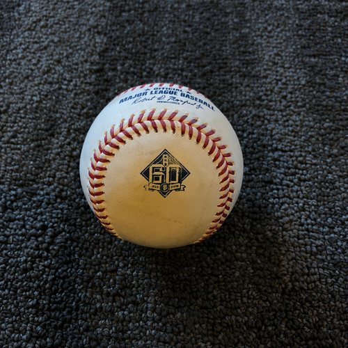 Photo of San Francisco Giants -2018 Game Used Baseball - 9/12/18 vs ATL - T-1: Derek Holland to Ozzie Albies - Foul Ball.  Holland Pick Off of Acuña at 1st Base