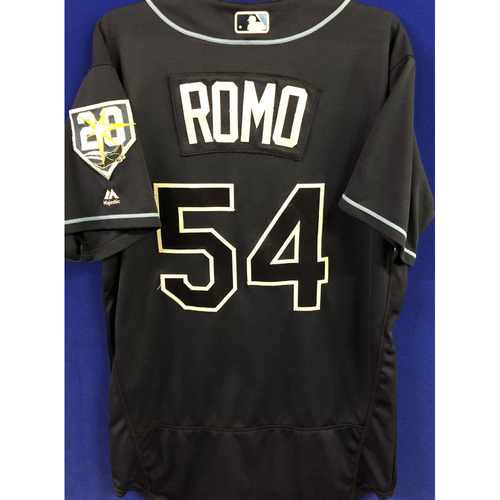 Photo of 20th Anniversary Game-Used Alternate Jersey: Sergio Romo (1.0 IP, 3 SO, 1 SV) - September 29, 2018 v TOR