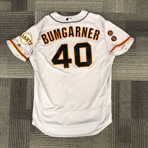 Photo of 2016 Game Used Road Jersey worn by #40 Madison Bumgarner on 7/23/16 vs. NYY, 7/19/16 vs. BOS & 9/17/16 vs. STL - Size 50