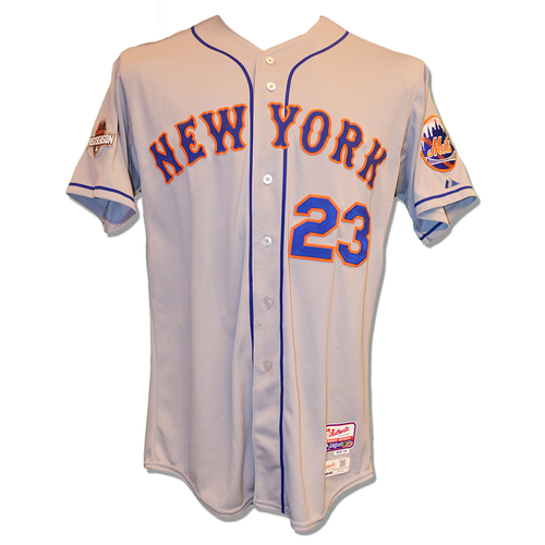 Photo of Michael Cuddyer #23 - Game Used Road Grey Jersey - Mets Advance to the 2015 World Series - 2015 NLCS Game 4 - Mets vs. Cubs - 10/21/15