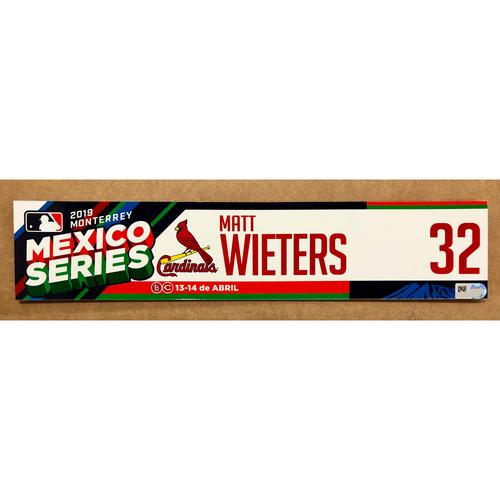 Photo of 2019 Mexico Series - Game Used Locker Tag -Matt Wieters -  St. Louis Cardinals