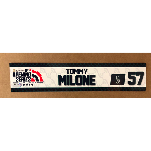Photo of 2019 Japan Opening Day Series - Game Used Locker Tag - Tommy Milone -  Seattle Mariners