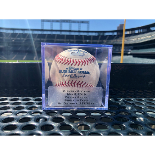Photo of Colorado Rockies Game-Used Baseball: Pitcher: Wade Davis, Batter: Kevin Pillar (Single to Raimel Tapia) - May 9, 2019 vs Giants