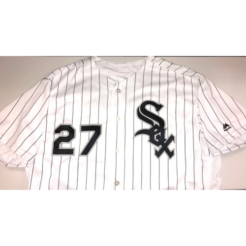 Photo of Lucas Giolito Team Issued 2018 White Pinstripe Jersey Size 50