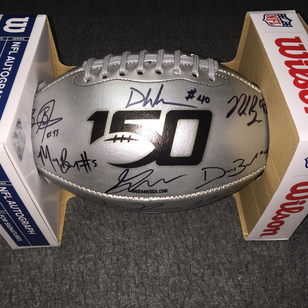 College Football 150th Anniversary Commemorative Multi-Sign Football Featuring more than 15 signatures, including: Kyler Murray, Nick Bosa, DK Metcalf, Daniel Jones and more!