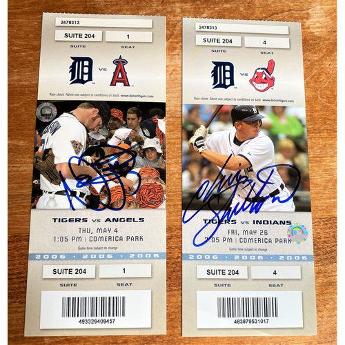 Photo of Nate Robertson and Chris Shelton Autographed Detroit Tigers 2006 Suite Ticket Collection (MLB AUTHENTICATED)