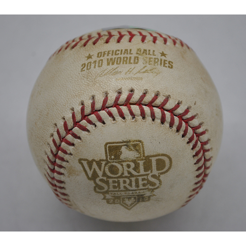Photo of Game-Used Baseball - 2010 World Series - Texas Rangers vs. San Francisco Giants - Aubrey Huff Reaches on Error by M. Moreland  - Top 5th - Game 5 - 11/1/2010