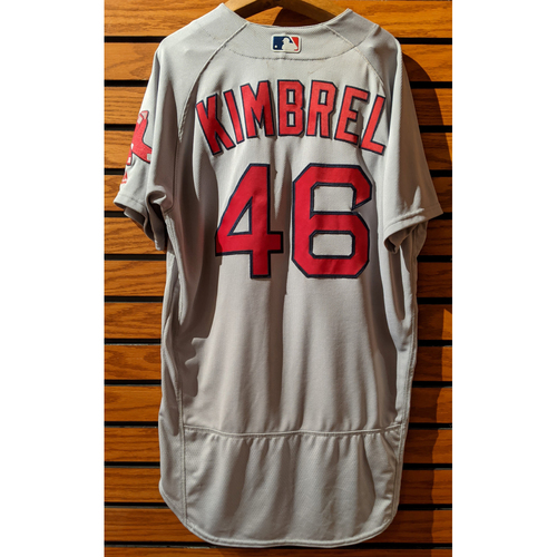 Photo of Craig Kimbrel #46 100th Red Sox Save Game Used Road Gray Jersey