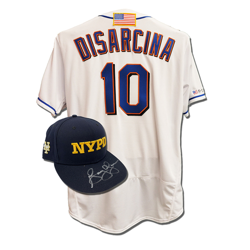 Photo of Gary DiSarcina #10 - Autographed Game Used First Responder Hat and Game Used White Commemorative Jersey with American Flag Patch - Mets vs. Yankees - 9/11/2021