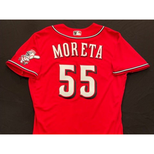 Photo of Dauri Moreta -- 2021 Los Rojos Jersey -- Game Used from Sept 24 -- Size: 44
