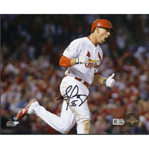 Cardinals Authentics: Stephen Piscotty Autographed Celebrating Photo