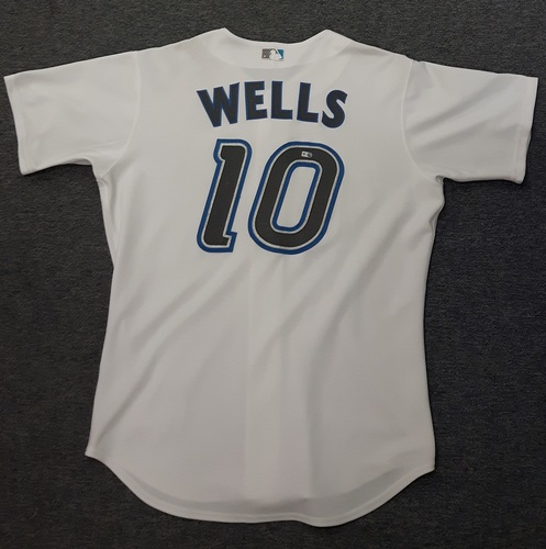 Photo of Authenticated Game Used Jersey - #10 Vernon Wells (May 31st, 2007). Wells went 0-for-3. Size 48