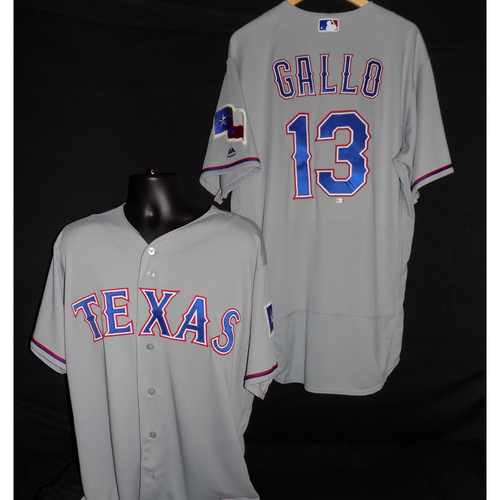 Photo of Joey Gallo-Game-Used Grey Jersey Worn 8/8/2017 vs NYM; HR (31) 2B (13) - Size 48