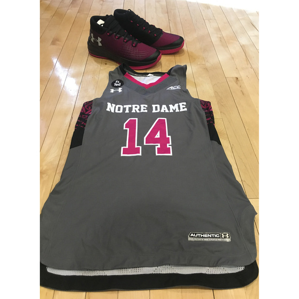 Photo of Notre Dame Women's Basketball 2016-2017 Pink Game Jersey #14 & Under Armour Shoes
