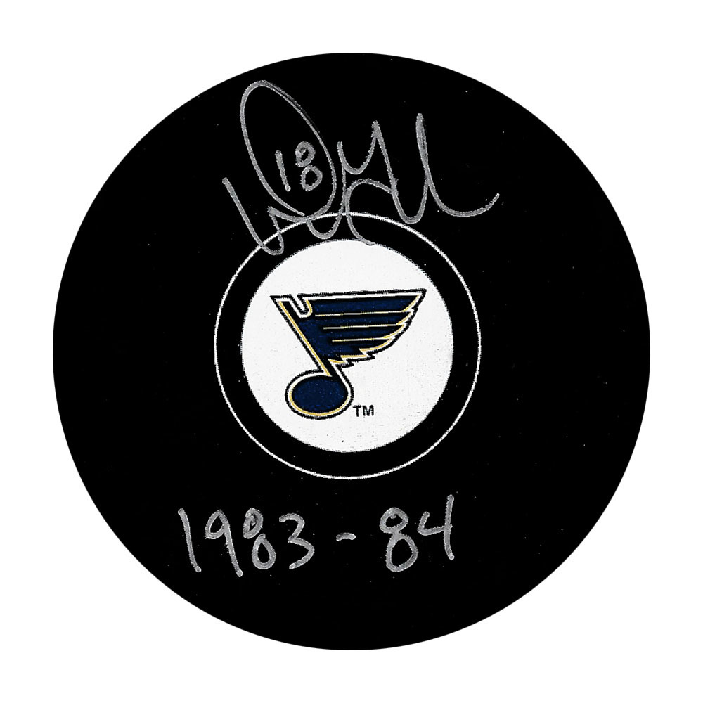Doug Gilmour Autographed St Louis Blues Puck w/1983-84 ROOKIE Inscription