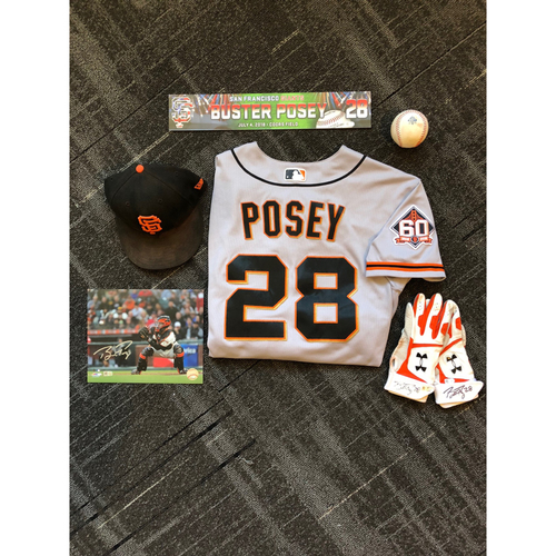 Photo of San Francisco Giants - Buster Posey Game-Used Memorabilia Ultimate <i>From The Clubhouse</i> Collector's Pack (includes HOMERUN jersey)