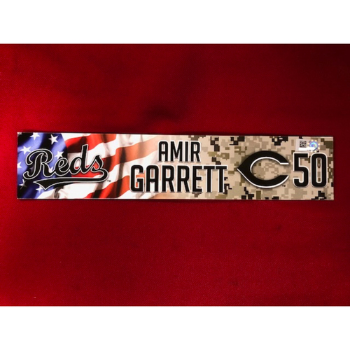 Photo of Amir Garrett - Game-Used - Military Appreciation Locker Tag (2018)
