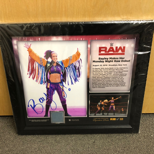 Photo of Bayley SIGNED RAW Signature Series Ring Canvas Plaque (#3 of 10)