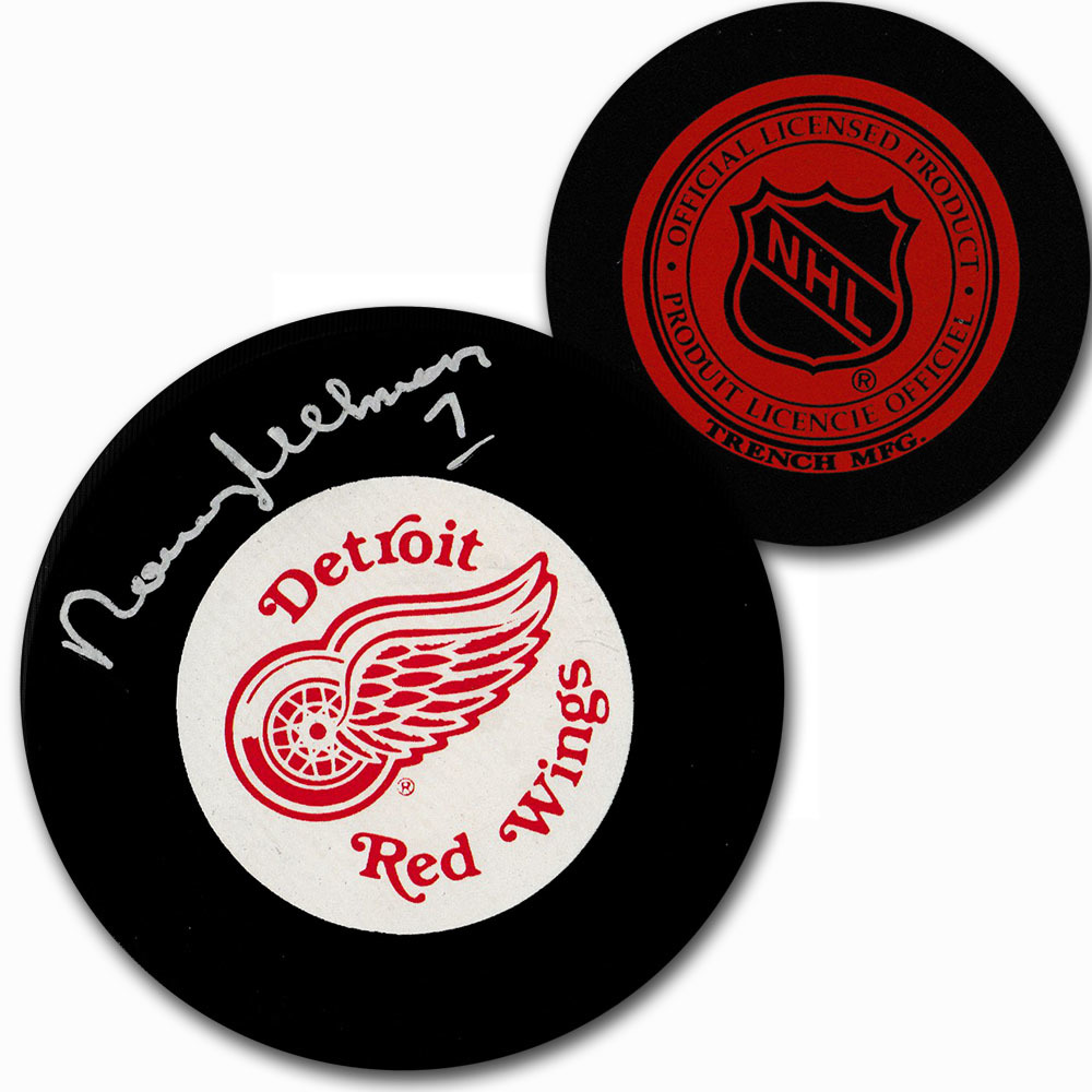 Norm Ullman Autographed Detroit Red Wings Vintage Trench Puck