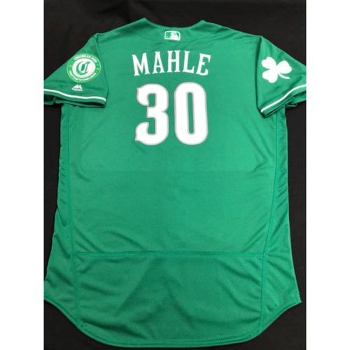 Photo of Tyler Mahle -- Team-Issued Jersey -- 2019 St. Patrick's Day