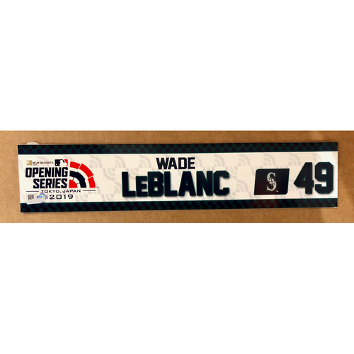 Photo of 2019 Japan Opening Day Series - Game Used Locker Tag - Wade LeBlanc -  Seattle Mariners