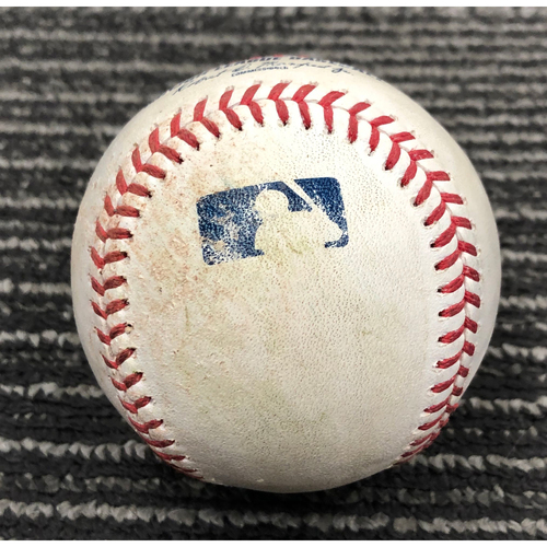 2019 Game Used Baseball used on 8/11 vs. PHI - T-8: Tony Watson to JT Realmuto - Single to RF. Also Scott Kingery Foul Ball