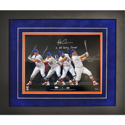 "Photo of Pete Alonso - Autographed 16x20 Framed Photo - Inscribed ""19 HR Derby Champ"""