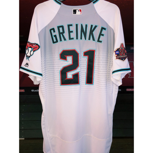 Photo of 6x All-Star Zack Greinke 2018 Team-Issued Home Alternate Jersey with 20th Anniversary Patch