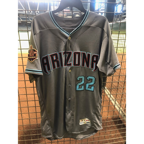Photo of Jake Lamb 2018 Team Issued Road Alternate Jersey with 20th Anniversary Sleeve Patch