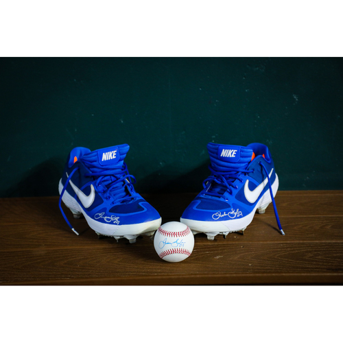 Photo of Jordan Lyles Autographed Baseball and Cleats (Lightly Used) - NOT MLB AUTHENTICATED - Certificate of Authenticity Included